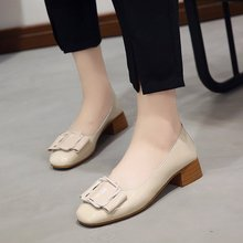 Купить с кэшбэком 2019 Heels Zapatos Mujer Tacon Freeshipping2019 Autumn Thick Heel Shoes Women's Wild Shallow Mouth Square Head Middle Small