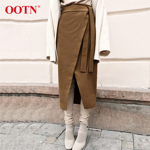 Image 1 - OOTN Vintage Braun Asymmetrie Wrap Rock Herbst Winter Wildleder Midi Röcke Hohe Taille Frauen Lange Rock Büro Khaki 2019 Mode