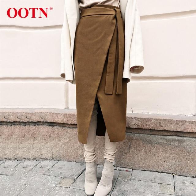 OOTN Vintage Braun Asymmetrie Wrap Rock Herbst Winter Wildleder Midi Röcke Hohe Taille Frauen Lange Rock Büro Khaki 2019 Mode