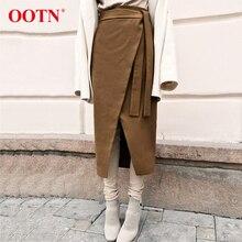 Ootn Nâu Vintage Bất Đối Xứng Quấn VÁY THU ĐÔNG Da Lộn Midi Váy Lưng Cao, Dài Váy Công Sở Kaki Thời Trang 2019