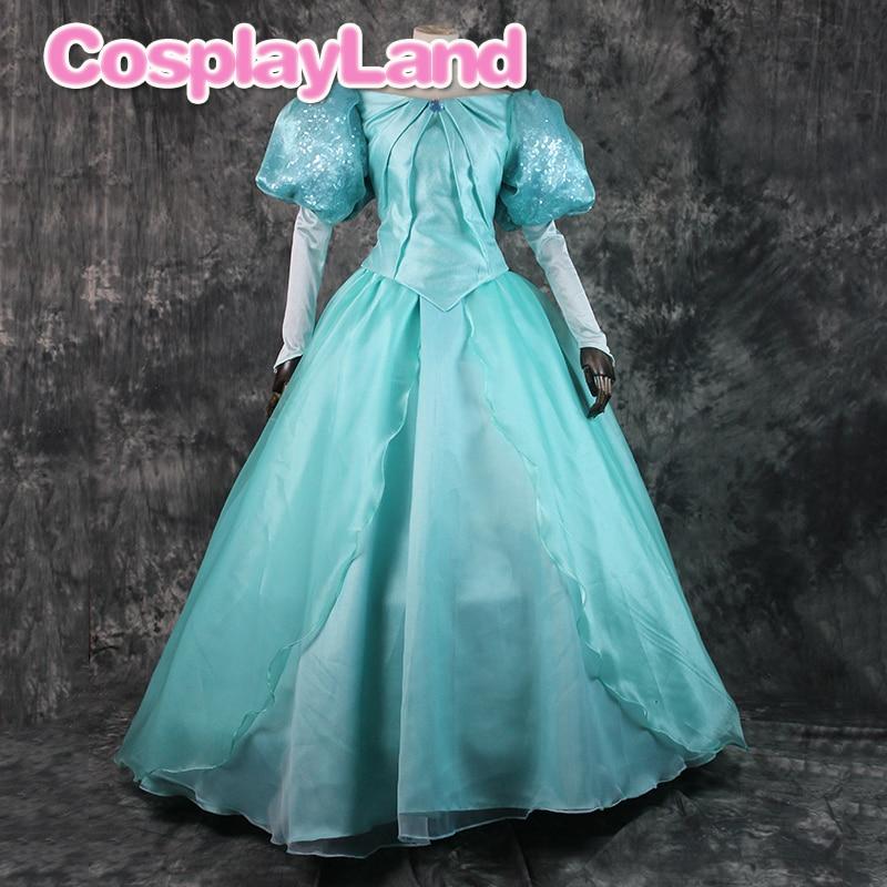 Prinzessin Ariel Cosplay Kostüm Halloween Phantasie Kleid Meerjungfrau Frauen Kleid Nach Maß Pailletten Lace Up Kleid Anzug
