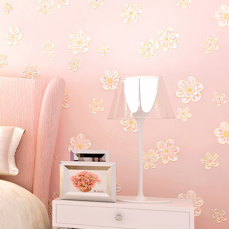 Thick 3D Warm Pastoral Style Wallpaper Bedroom Living Room Marriage House Non-woven Wallpaper GIRL'S CHILDREN'S Room TV Backdrop