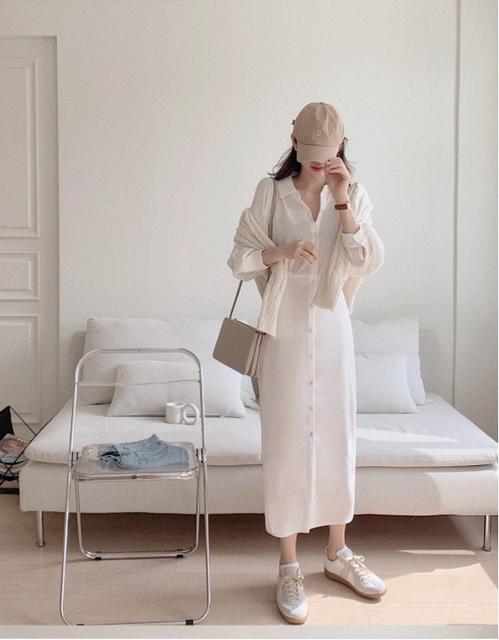 Summer Women'S Dress 2021 Shirt Dress Long Evening Female Vintage Maxi Party Beach Women Dresses Casual Elegant Prom pure white 5