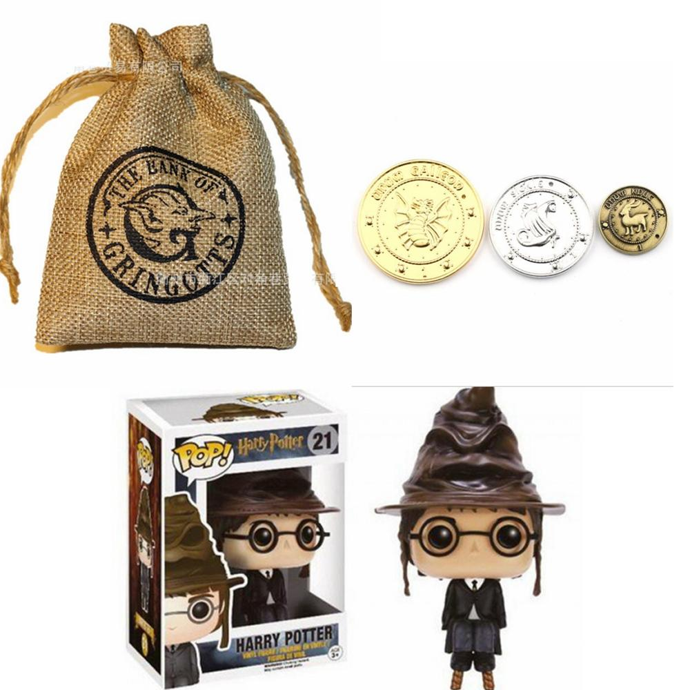 3pcs Harri Potter Galleons Sickels Knut Cosplay Coin & Magic Bag Toy Cartoon Harri Potter Magic World Juguetes Kids Gift