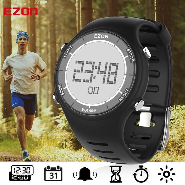 الرقمية في الهواء الطلق الرياضة الجري ساعة للرجال والنساء مقاوم للماء 50 متر ساعة إنذار متعددة الوظائف ساعات المعصم EZON L008