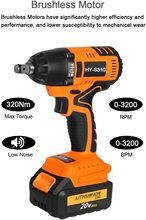 20V Cordless Impact Wrench Brushless Motor 320N.M Max Torque 3AH Lithium-ion Battery, Fast Charger Belt Hook and Tool Bag fast charger replacement for porter cable 20v max lithium ion battery and black