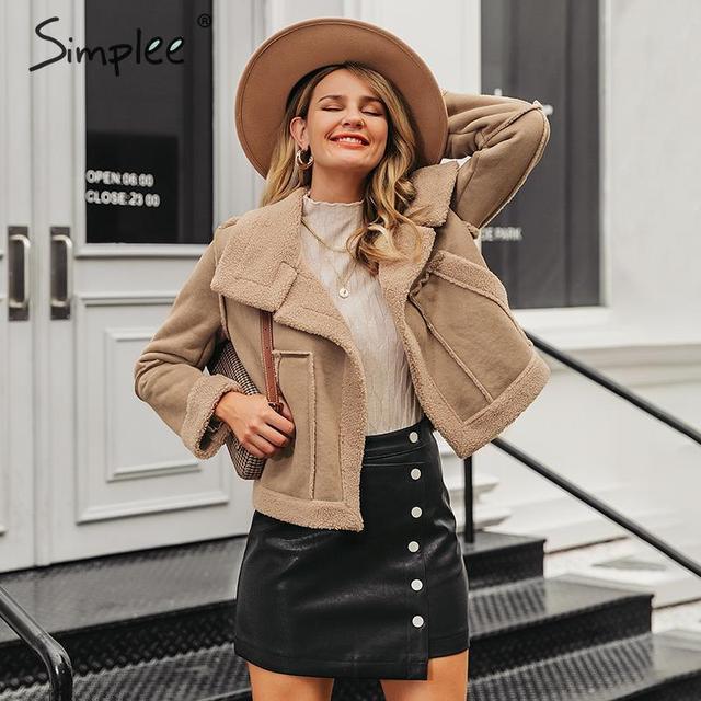 Simplee Fashion suede patchwork women faux fur coat Autumn winter big pockets female warm jackets Outwear office ladies overoats