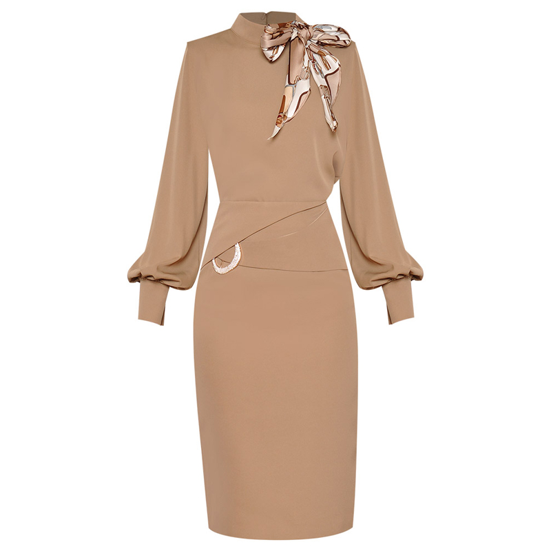 High Quality And Latest 2020 Fashion Women's Bow Collar Lantern Sleeve Blouse Top Belted Skirt Set