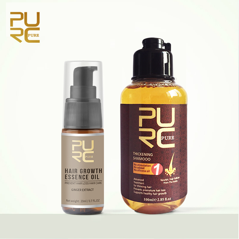 PURC Hair Growth Essence Oil Liquid Fast Grow Hair Treatment Prevent Hair Loss Hair Care 20ml and Thicken Hair Shampoo 100ml Set image