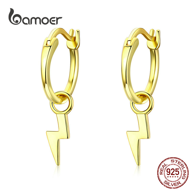 BAMOER Golden Lighting Drop Earrings For Women Real Pure 925 Sterling Silver Dangle Earring Female Silver Korean Jewelry SCE621