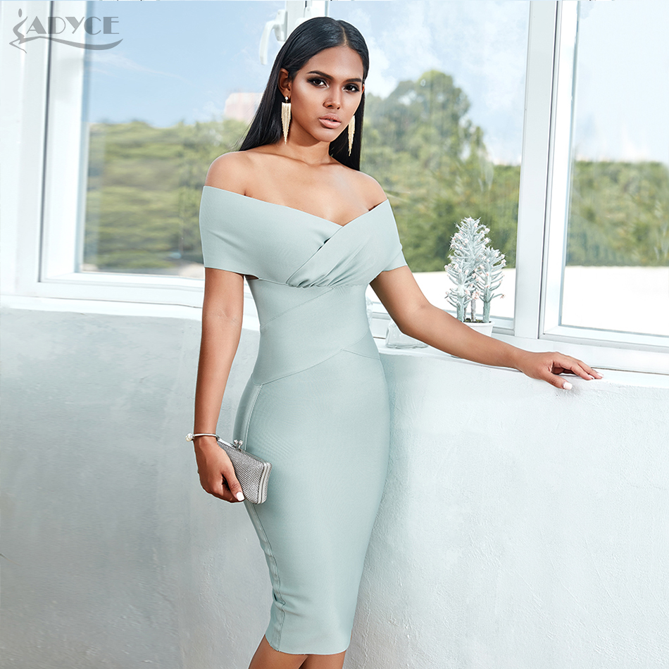 ADYCE New Summer Off Shoulder Bandage Dress Women 2020 Sexy Short Sleeve Midi Bodycon Club Celebrity Runway Party Dress Vestidos
