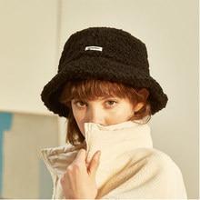 Lã de cordeiro carta feminina balde chapéu cor sólida outono inverno pescador chapéus para senhoras manter quente casual boné feminino plana chapéu