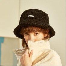 Lã de cordeiro carta feminina balde chapéu cor sólida primavera verão pescador chapéus para senhoras manter quente casual boné feminino plana chapéu