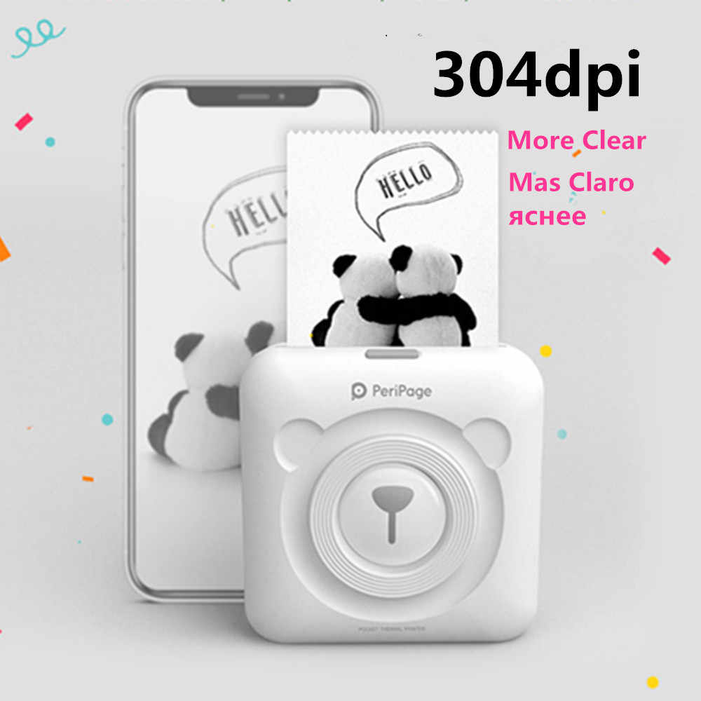 304 DPI Bluetooth Printer Portabel Resolusi Tinggi A6 Peripage Foto Mini Printer Thermal Printer untuk Ponsel Android & IOS