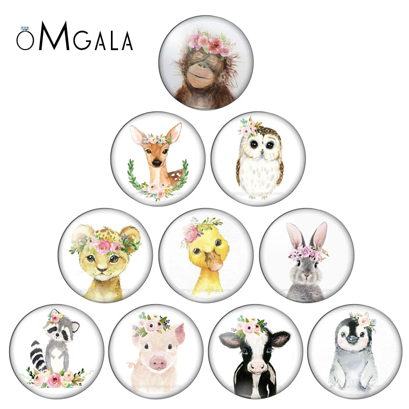 New Beauty Artistic Animals Mixed 10pcs 8mm/10mm12mm/18mm/20mm/25mm Round Photo Glass Cabochon Demo Flat Back Making Findings