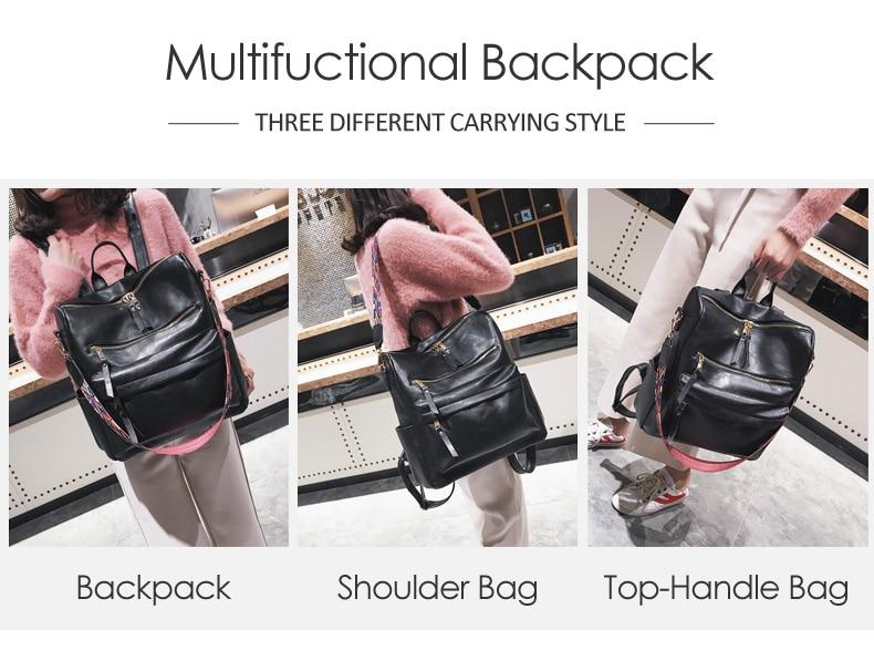H27b93b803b17464b840434c95d3f3a06U Leather Backpack Women 2019 Students School Bag Large Backpacks Multifunction Travel Bags Mochila Pink Vintage Back Pack XA529H