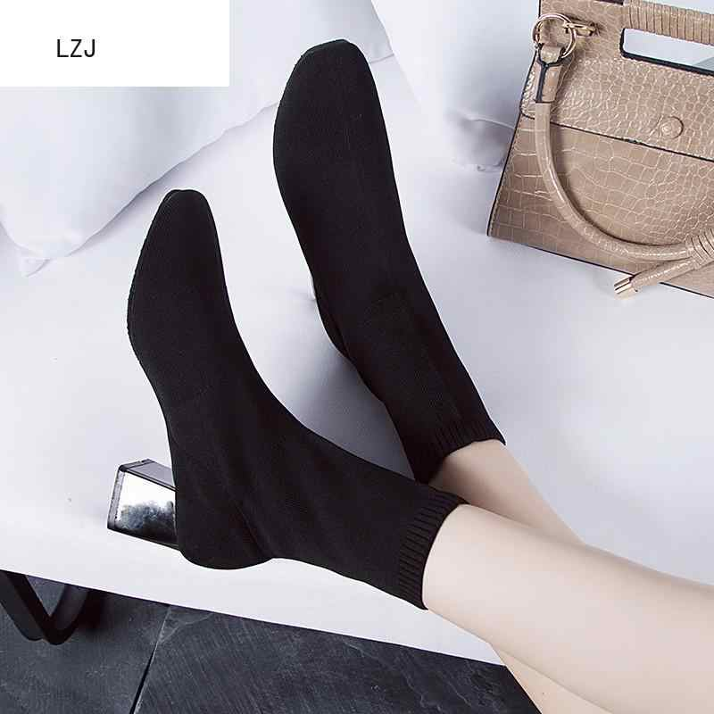 2019 femmes noir cheville chaussette bottes 2019 mode printemps automne Stretch Chunky talons hauts bout pointu chaussures hiver Zapatos De Mujer
