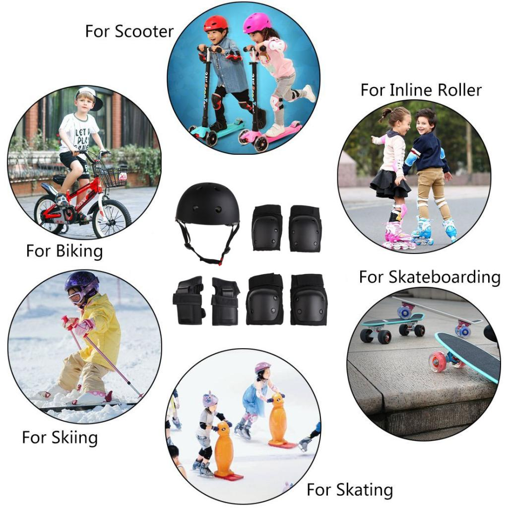7 Pieces Kids Roller Skating Helmet Knee Elbow Wrist Pads Set