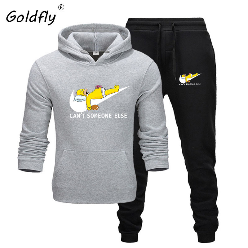 Goldfly Two Pieces Set Fashion Hooded Sweatshirts Sportswear Men Tracksuit Hoodie Autumn Men Brand Clothes Hoodies+Pants Sets