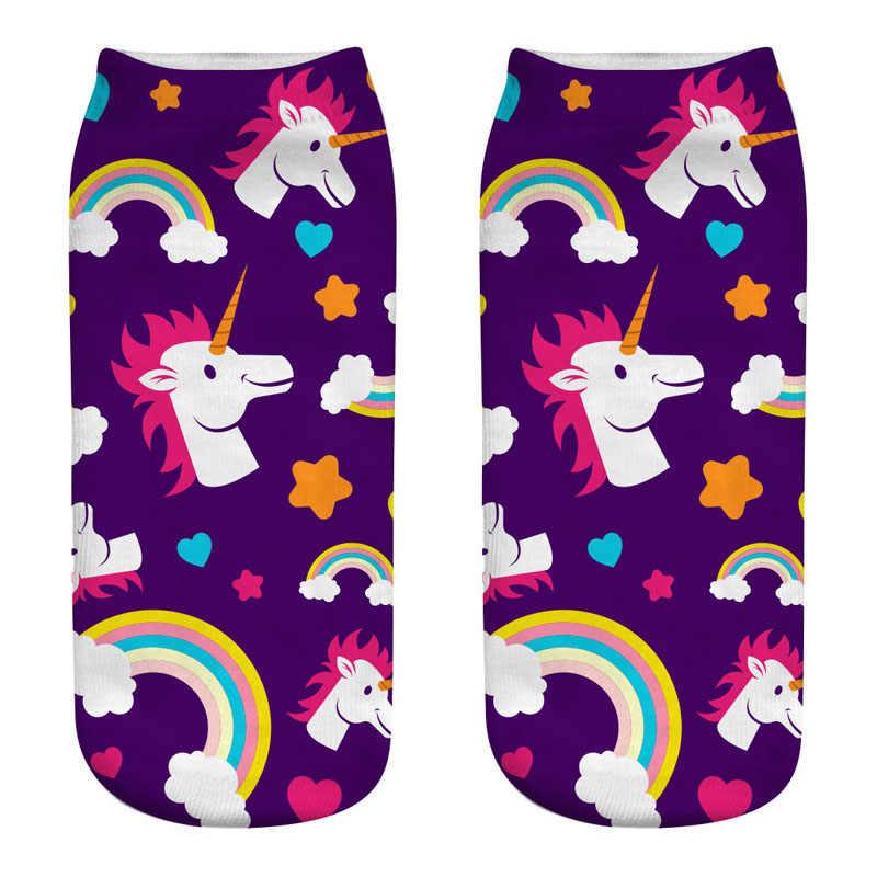1 Pasang Baru Fashion 3D Fuzzy Perempuan Kaus Kaki Cetak Rainbow Unisex Kartun Lucu Pendek Kaus Kaki Skarpety Damskie Hangat Musim Dingin socken