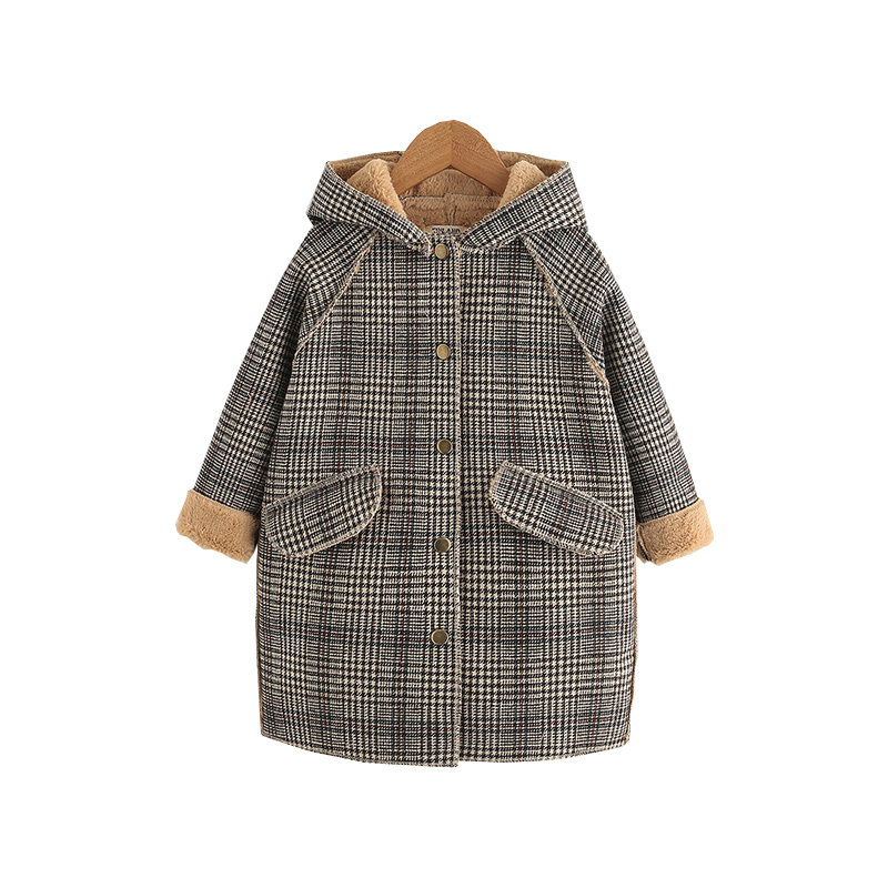 Kids Girl Overcoat Winter New Fashion Houndstooth Wool Coat For Girls Teens Autumn Jacket Plus Velvet Warm Long Outerwear CL149