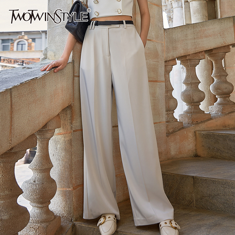 TWOTWINSTYLE Elegant Women Full Length Pants High Waist Loose Casual Wide Leg Pant For Female Fashion Clothes 2020 Summer Tide