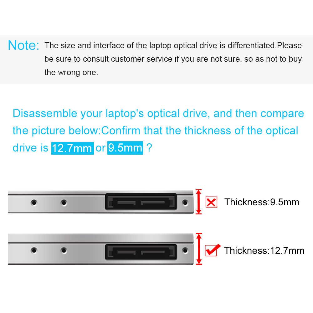 CHIPAL Tốt Nhất 2nd HDD 12.7Mm SATA 3.0 Đèn LED Chỉ Thị SSD 2.5 Inch Ốp Lưng Cứng Kèm Cho laptop Của DVD-ROM CD-ROM
