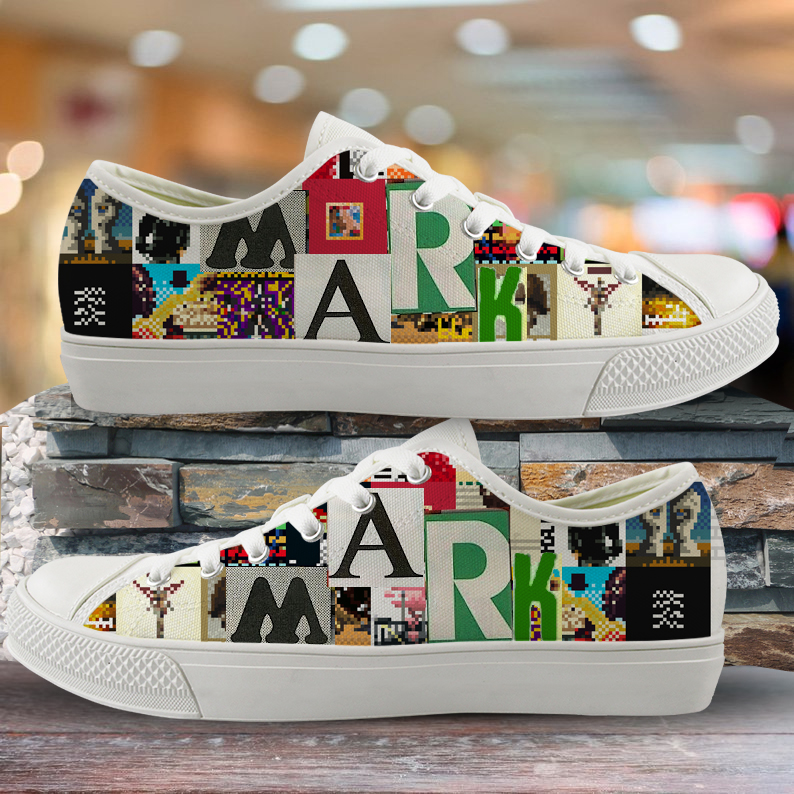 INSTANTARTS Custom Image/Picture Your Name/Logo Low Top Canvas Shoes White Black Male Lace Up Low Top Sneakers Man Casual Shoe
