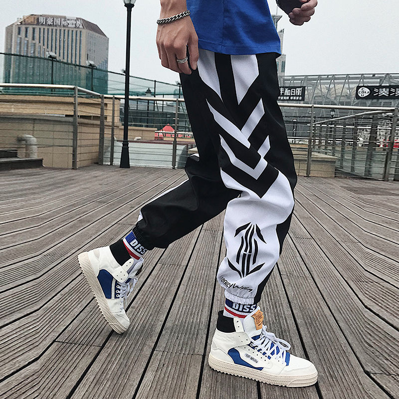 Trousers Joggers-Pants Streetwear Hip-Hop Loose White Sport Men Casual Ankle-Length title=