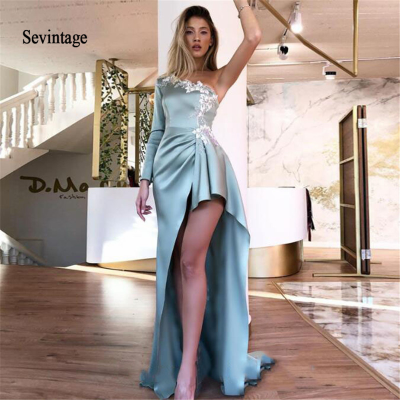 Sevintage Sexy High Low Satin Evening Dress One Shoulder Long Sleeves Lace Proom Gowns Formal Celebrity Dresses Robe De Soiree
