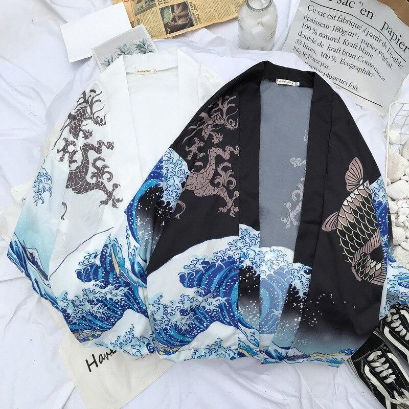 Men Japanese Style Kimono Dragon Print Jackets Chimono Cosplay Cardigan Yukata Tops Fashion Coats Loose Blouse Harajuku Costumes