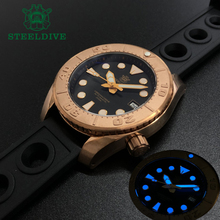 Diving-Watch Bronze STEELDIVE Black Nh35 Automatic Movement Dial Sapphire Water-Resistance
