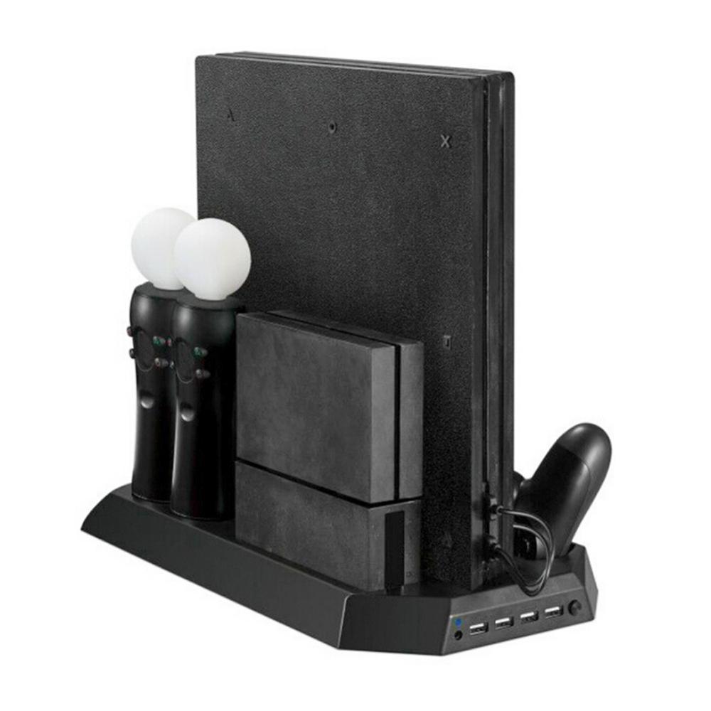 Slim Charging Display Stand Showcase Vertical Stand Fan Cooler Controller Charger HUB For PS4 Pro