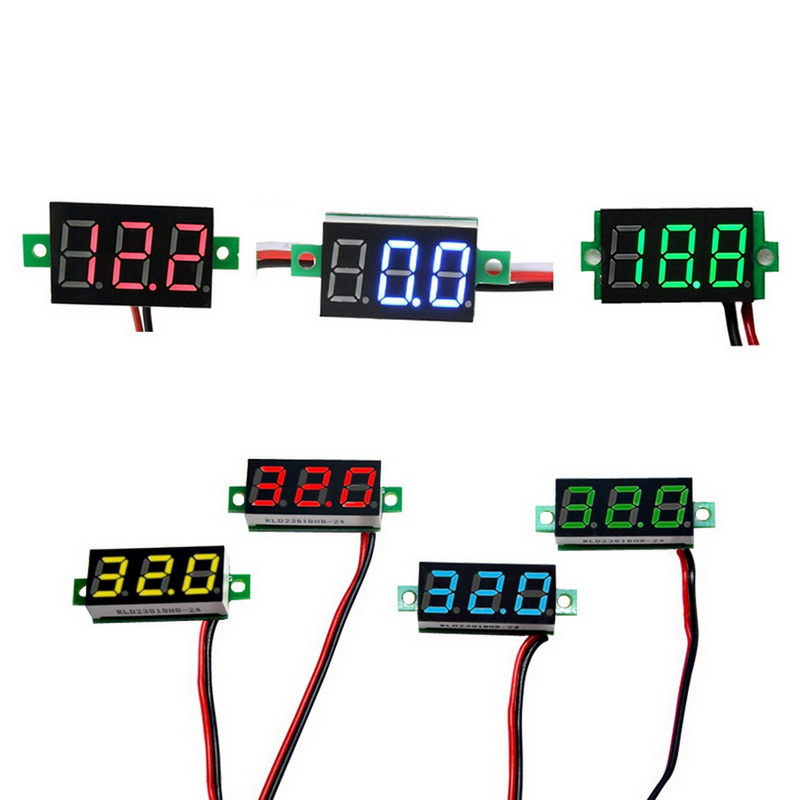 DIDIHOU Dc4.5/4.7/5-30v Digital Voltmeter Two Wires Volt Meter Detector  With LED Panel Digital Display