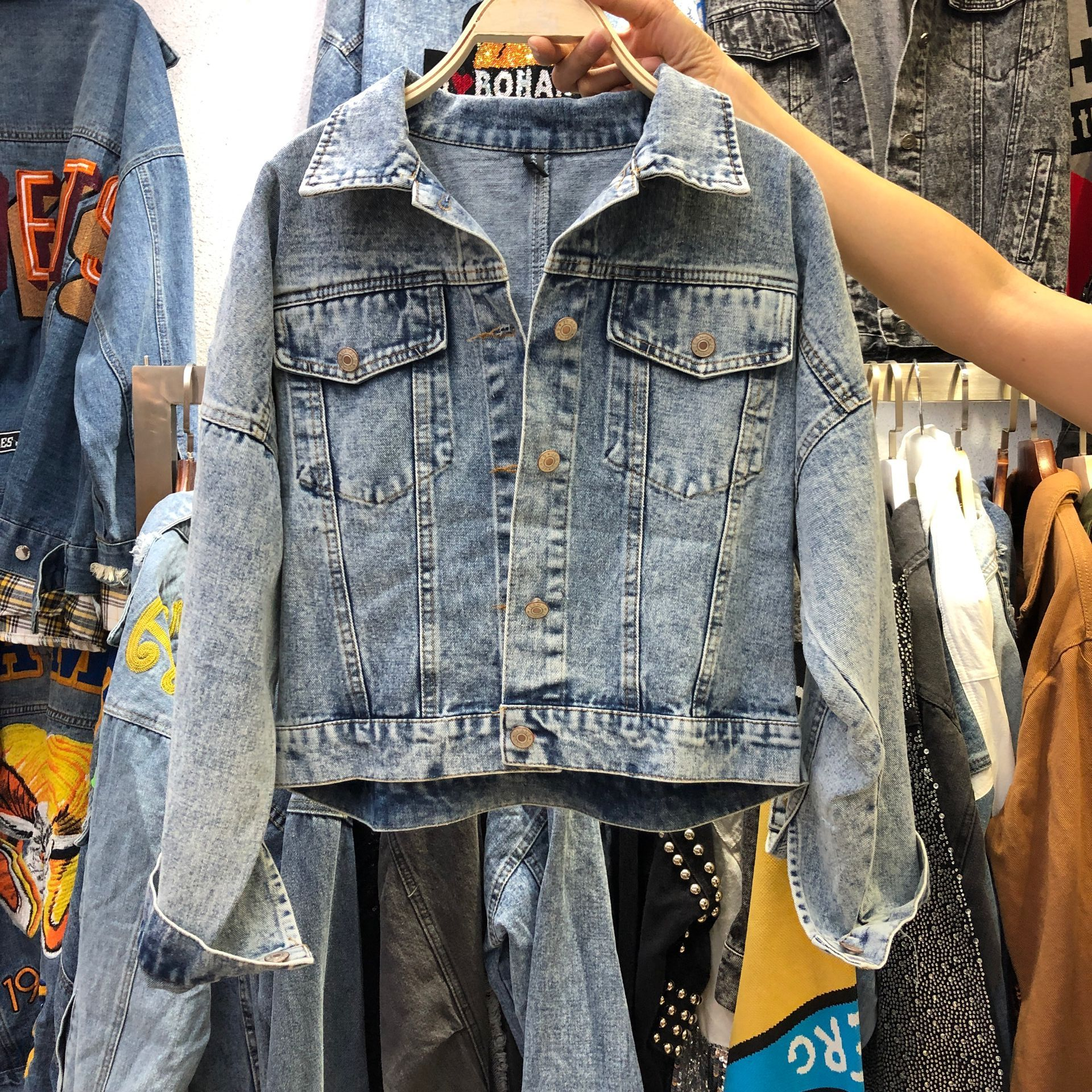 2020 New Autumn Heavy Work Fringed Sequins Retro-washed Denim Jacket Womens Short Jeans Jackets Coat Girls Students Jean Coats