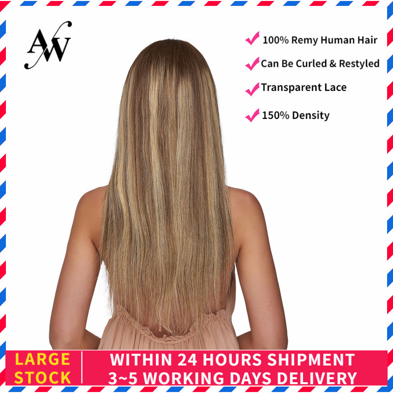 AW 20'' HD Transparent Lace Frontal Wigs Straight Pre Plucked Hairline Remy Human Hair Wig For Women 150% Density Golden Brown