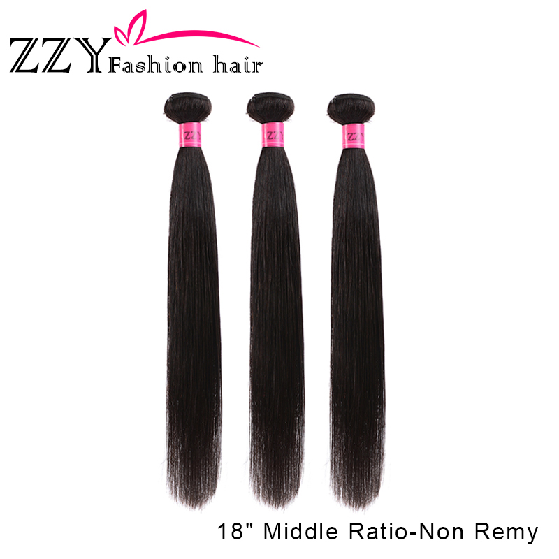 ZZY Fashion Hair Peruvian Straight Hair 3 Bundles Human Hair Extensions 1B M Non Remy Human Hair