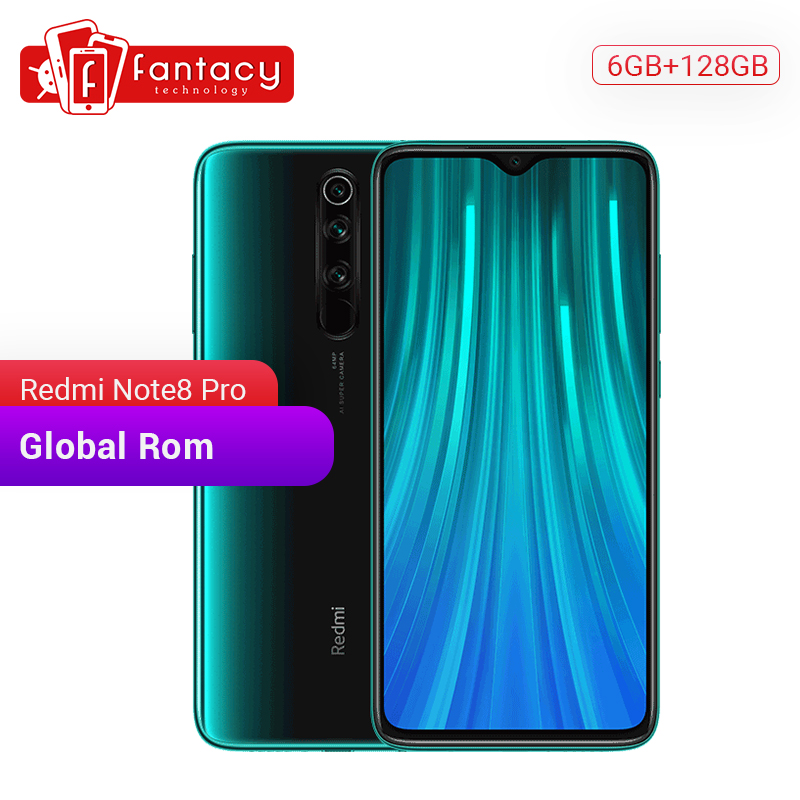 Global ROM Xiaomi Redmi Note 8 Pro 6GB 128GB Mobile Phone 6.53'' FHD+ Diaplay 64 MP Quad Camera 4500mAh 18W QC 3.0 UFS 2.1