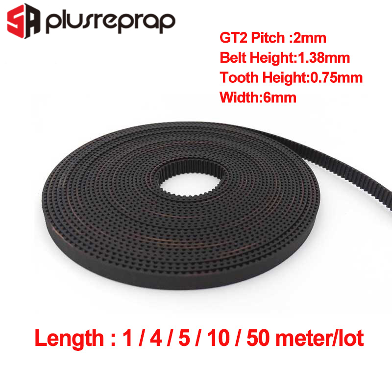 1/4/5/10/50Meters GT2 6mm Open Timing Belt Width 6mm GT2 Rubber Timing Belt For 3D Printer Parts