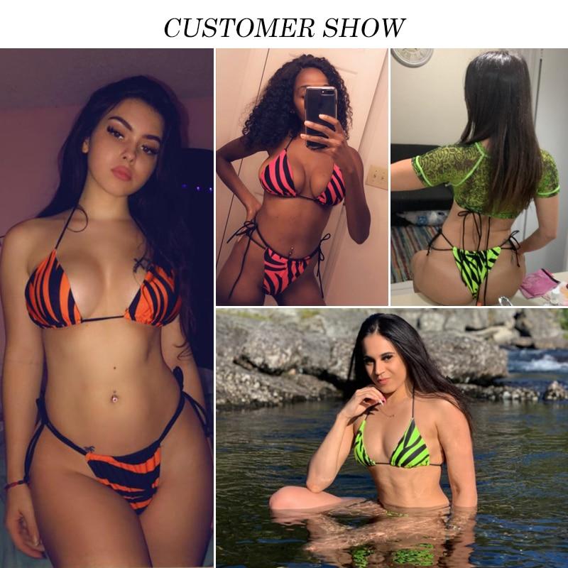 H27bac824e1ff46aaa0d4456e223353d8T Brazilian bikini thong Micro print bikini Neon swimwear women 2019 bathers Push up 3 piece swimsuit female string bathing suit