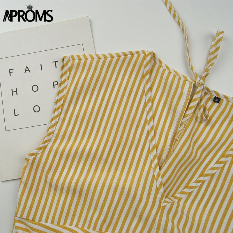 Aproms Vintage Stripe Print Midi Dress Women Elegant Deep V Sash Tie Up Bodycon Dresses Female Summer Streetwear Sundresses 19 14