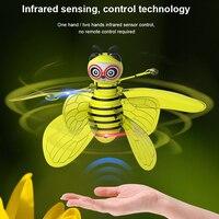 Abelha voando controle remoto brinquedo eletrônico mini aeronaves infravermelhas ao ar livre crianças interior zangão engraçado gesto sensor bonito helicóptero