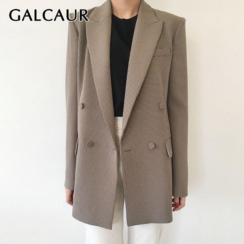 GALCAUR Korean Slim Plaid Women's Blazer Notched Long Sleeve Double Breasted Pocket Autumn Female Blazers 2019 Fashion New