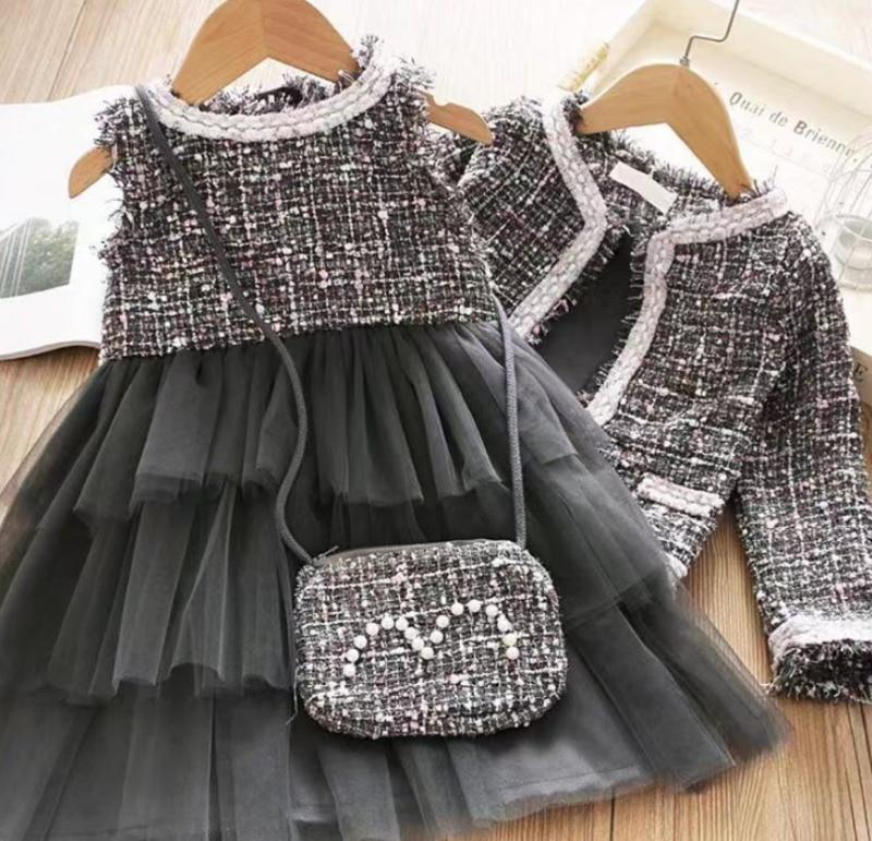 2020 Elegant Kids Baby Girl Clothes Formal Sets 2Pcs Retro Plaid Coats Cardigan Sleeless Layered Tulle Tutu Dress Girl Sets 0-4Y