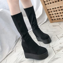 Women's Knee-High Long Boots Casual Thick-Soled Suede Wedge Shoes Woman Platform Increase High Mid-Tube Boots Ladies Flats shoes(China)