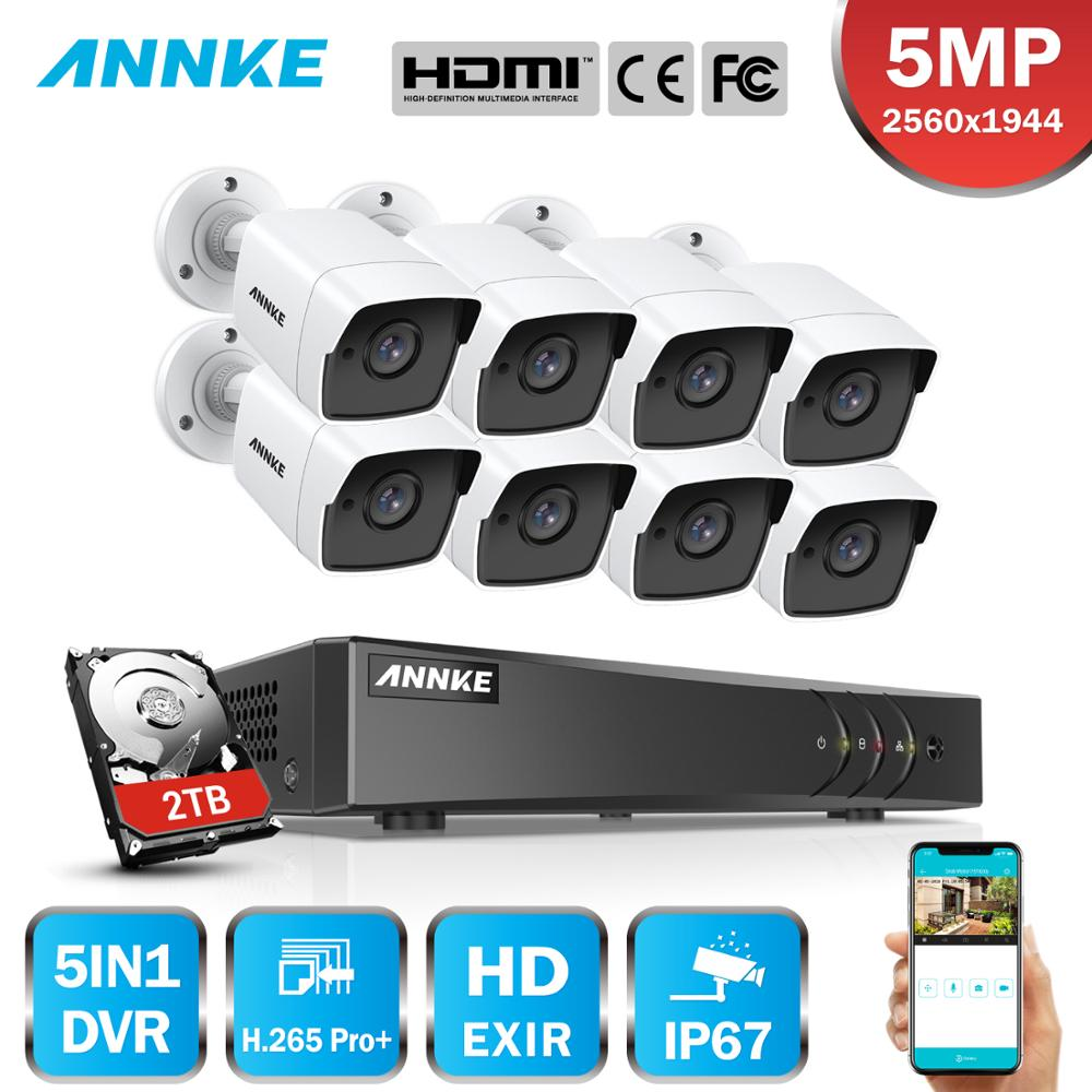 ANNKE 8CH 5MP Ultra HD CCTV Camera System 5IN1 H.265+ DVR With 8PCS 5MP TVI Weatherproof White Security Surveillance System