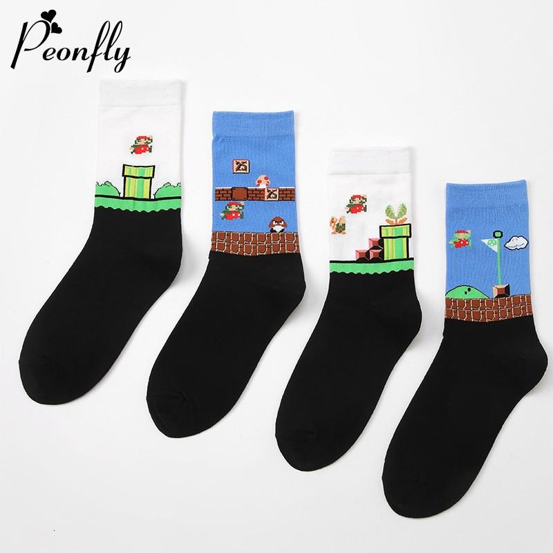 PEONFLY Funny Cartoon Super Mario Printed Socks Women New 2019 Autumn Winter Harajuku Calcetines Casual Cotton Happy Socks