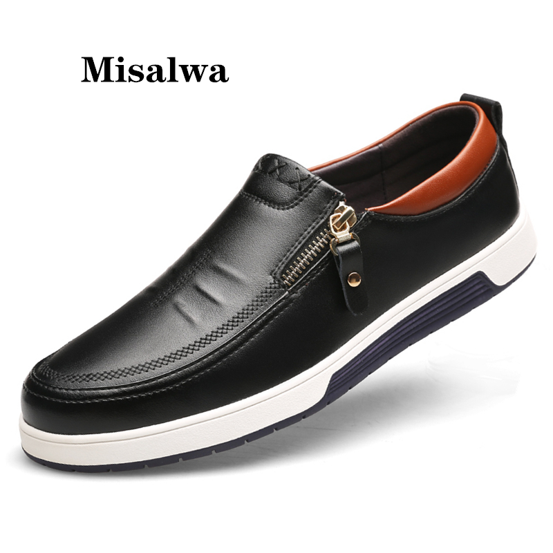 Misalwa Plus Size 38-47 Leather Men Sneakers New 2019 Men Casual Shoes Zipper Luxurious Brand Flat Shoes For Men Drop Shipping