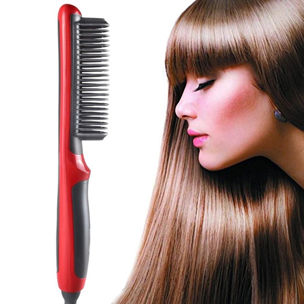 ElectricHair Straightener Ceramic Brush HairIron StraighteningComb Women Ladies Hair Straightener Comb Fast Heated Brush