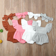 0-24M Newborn Baby Girl Boy 2PCS Summer Clothes Ruffle Romper Jumpsuit Outfits Clothing new arrival party girl baby romper clothes embroidery turkey pattern ruffle newborn clothes matching boy romper gpf803 115